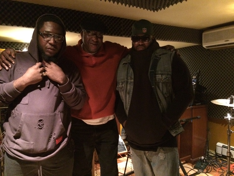 David McSwagg, Jeffrey Scott Lawrence, and B.I. Bang in studio